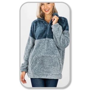 Two Tone Soft Faux Fur Half Zip Pullover